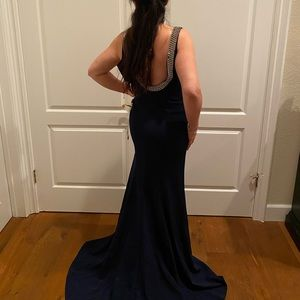 Navy Blue Marsoni Gown with Beautiful Back